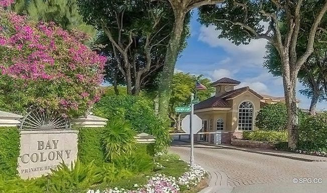 Entrance into the Luxury Waterfront Homes of Bay Colony, Fort Lauderdale, Florida 33308
