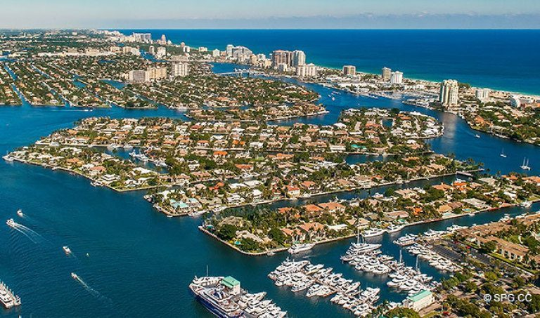 Northeast Aerial View of the Luxury Waterfront Homes in Harbor Beach, Fort Lauderdale, Florida 33316