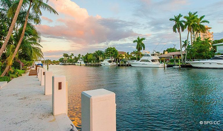 View of the Intracoastal Waterway and the Luxury Waterfront Homes in Harbor Beach, Fort Lauderdale, Florida 33316