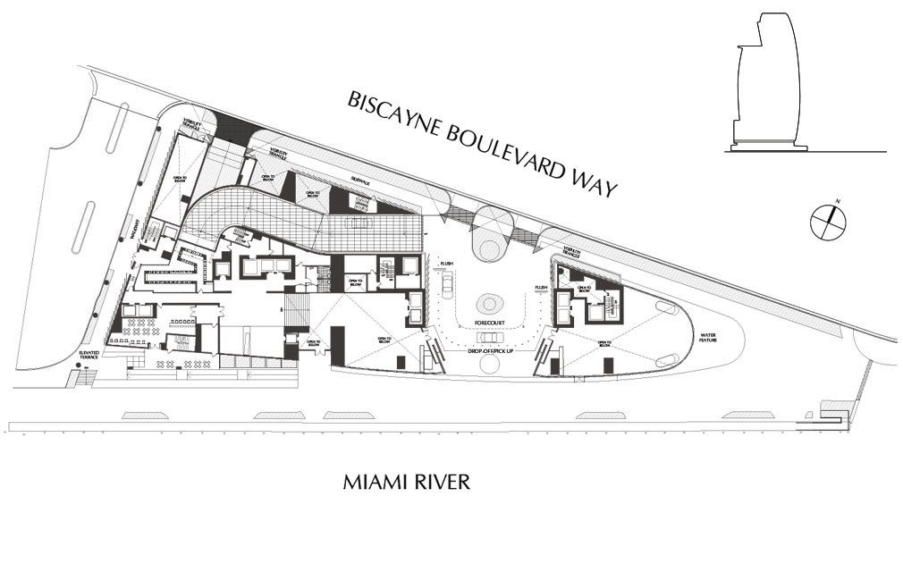 Siteplan for Aston Martin Residences, Luxury Waterfront Condos in Miami, Florida 33131