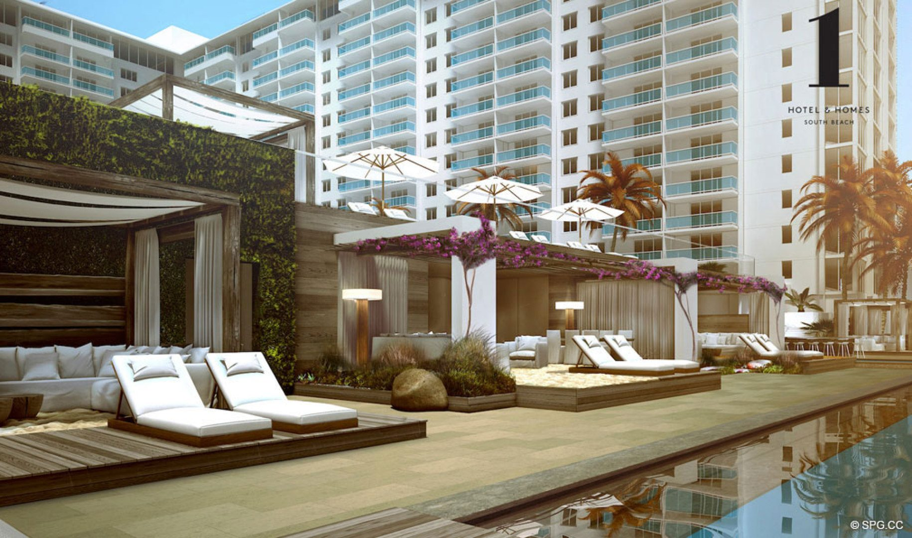 Poolside Cabanas at 1 Hotel & Homes South Beach, Luxury Oceanfront Condominiums Located at 2399 Collins Ave, Miami Beach, FL 33139