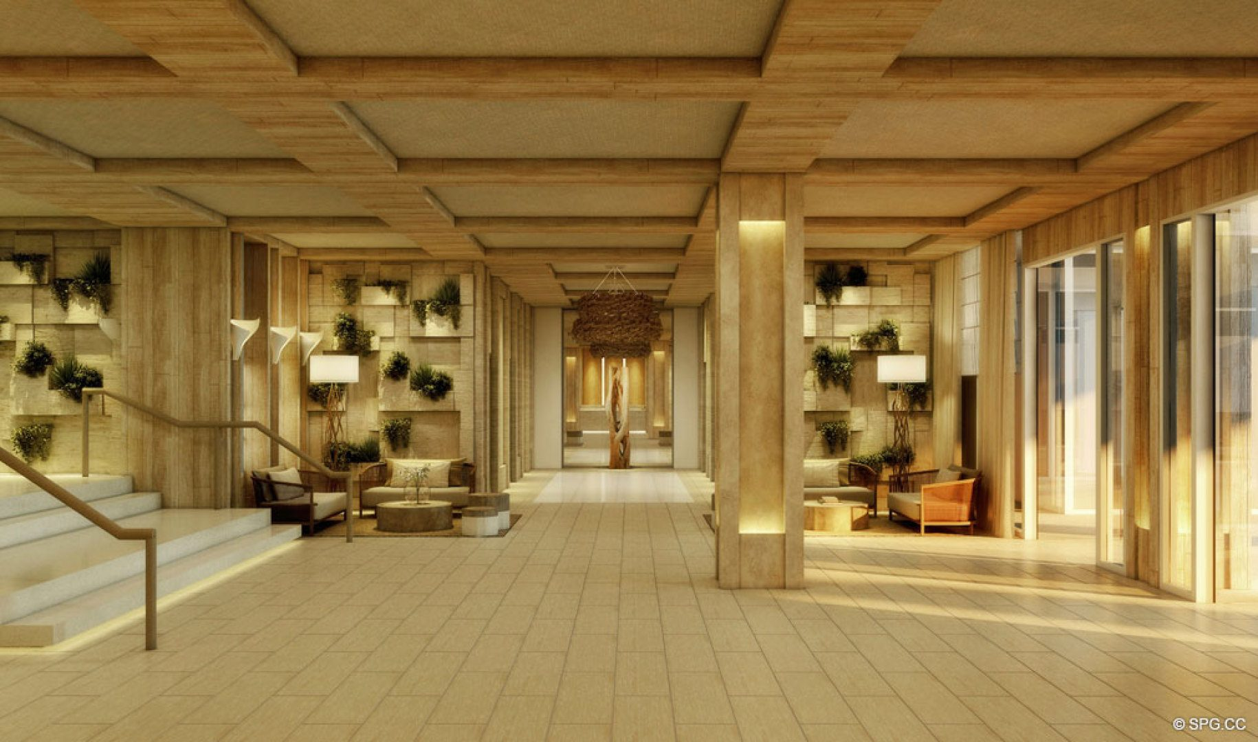 Lobby at 1 Hotel & Homes South Beach, Luxury Oceanfront Condominiums Located at 2399 Collins Ave, Miami Beach, FL 33139