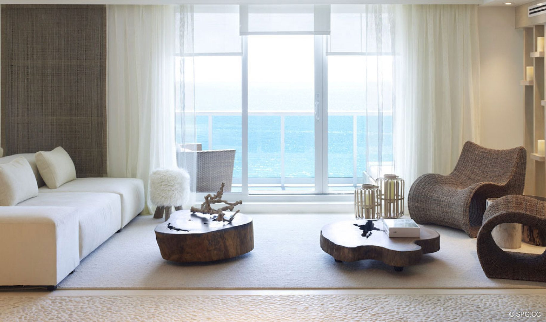 Living Room at 1 Hotel & Homes South Beach, Luxury Oceanfront Condominiums Located at 2399 Collins Ave, Miami Beach, FL 33139