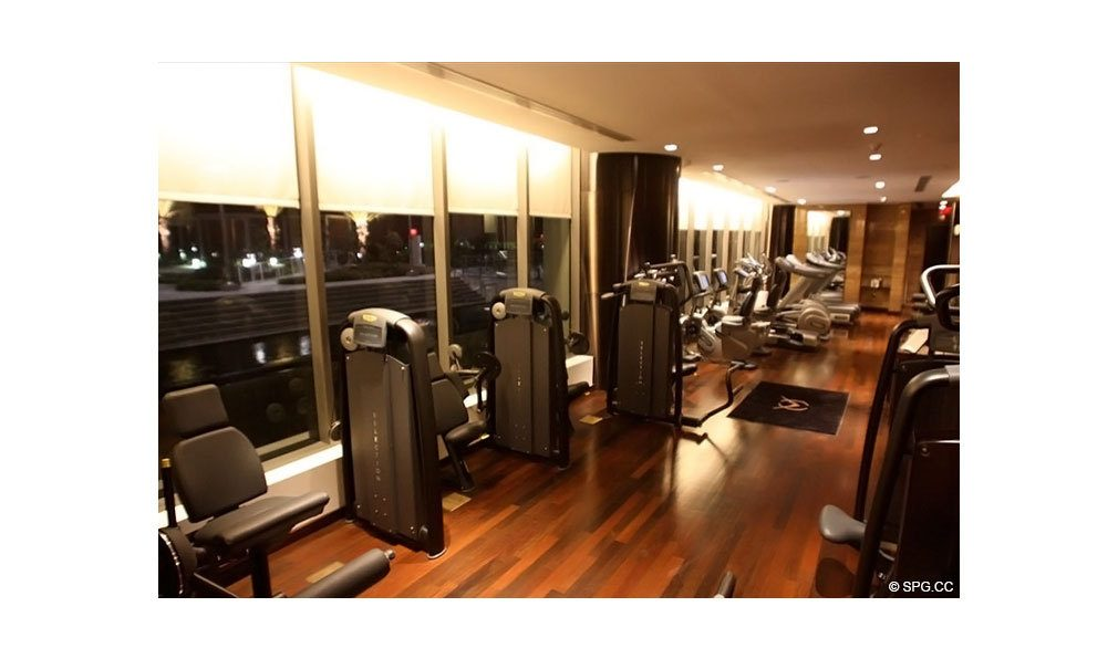 Fitness Center at Apogee South Beach, Luxury Waterfront Condominiums Located at 800 South Pointe Dr, Miami Beach, FL 33139