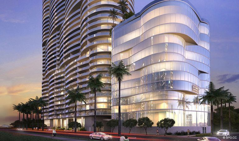 Design of Aria on the Bay, Luxury Waterfront Condominiums Located at 1770 North Bayshore Drive, Miami, FL 33132
