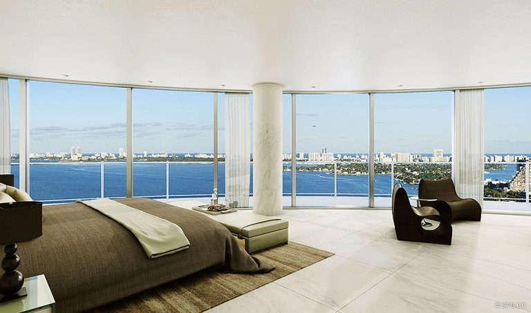 Bedroom at Aria on the Bay, Luxury Waterfront Condominiums Located at 1770 North Bayshore Drive, Miami, FL 33132