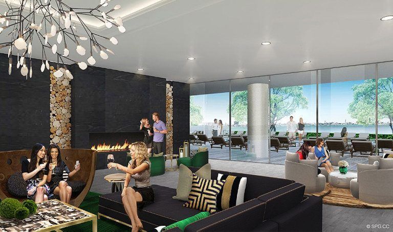 Lounge at Aria on the Bay, Luxury Waterfront Condominiums Located at 1770 North Bayshore Drive, Miami, FL 33132