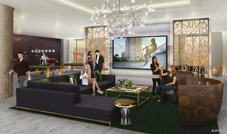 Lounge Area at Aria on the Bay, Luxury Waterfront Condominiums Located at 1770 North Bayshore Drive, Miami, FL 33132