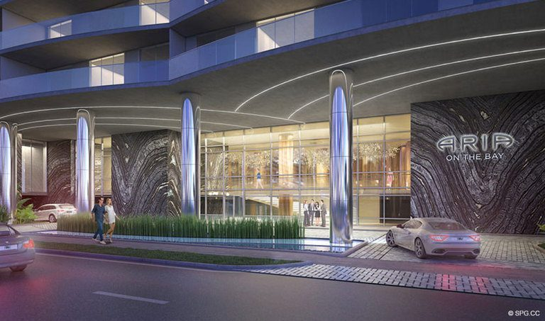 Porte Cochere Entrance at Aria on the Bay, Luxury Waterfront Condominiums Located at 1770 North Bayshore Drive, Miami, FL 33132