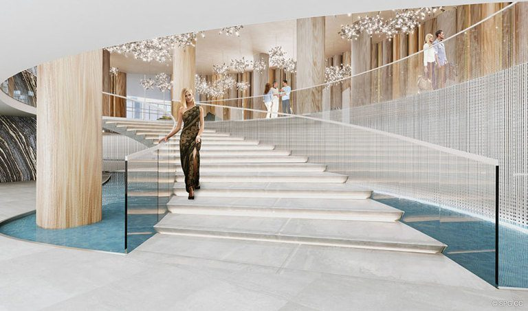 Grand Stairway at Aria on the Bay, Luxury Waterfront Condominiums Located at 1770 North Bayshore Drive, Miami, FL 33132