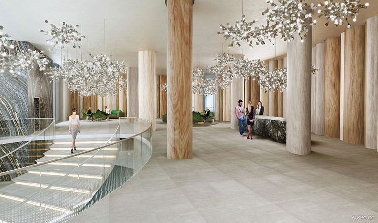 Common Area at Aria on the Bay, Luxury Waterfront Condominiums Located at 1770 North Bayshore Drive, Miami, FL 33132