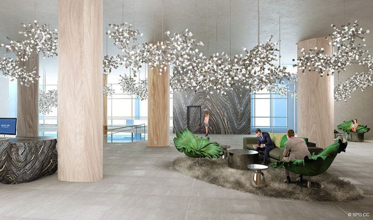 Modern Lobby at Aria on the Bay, Luxury Waterfront Condominiums Located at 1770 North Bayshore Drive, Miami, FL 33132
