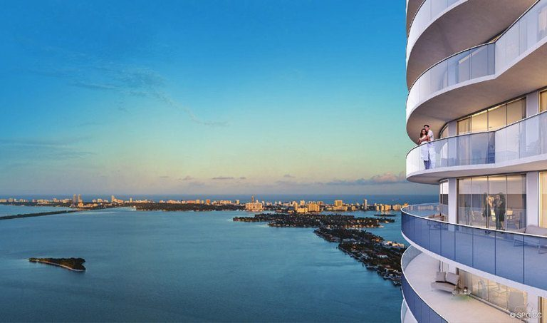 Terrace Views from Aria on the Bay, Luxury Waterfront Condominiums Located at 1770 North Bayshore Drive, Miami, FL 33132
