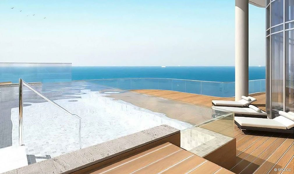 Penthouse Terrace at Chateau Beach Residences, Luxury Oceanfront Condominiums Located at 17475 Collins Ave, Sunny Isles Beach, FL 33160