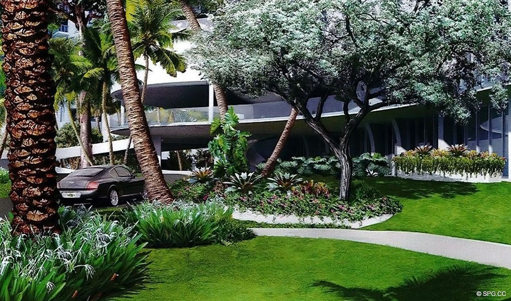 Lush Landscaping at Jade Signature, Luxury Oceanfront Condominiums Located at 16901 Collins Ave, Sunny Isles Beach, FL 33160