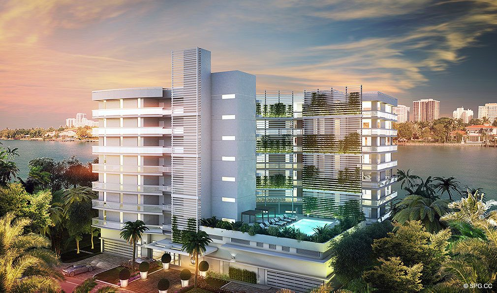 View of O Residences, Luxury Waterfront Condominiums Located at 9821 E Bay Harbor Dr, Miami Beach, FL 33154