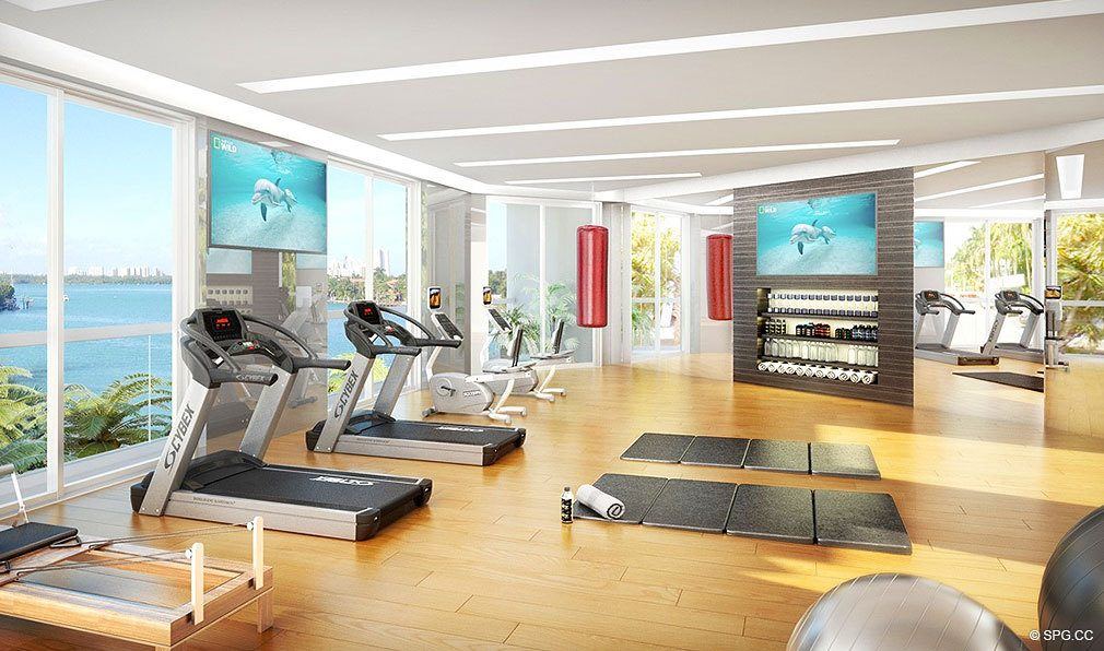 O Residences Fitness Center, Luxury Waterfront Condominiums Located at 9821 E Bay Harbor Dr, Miami Beach, FL 33154