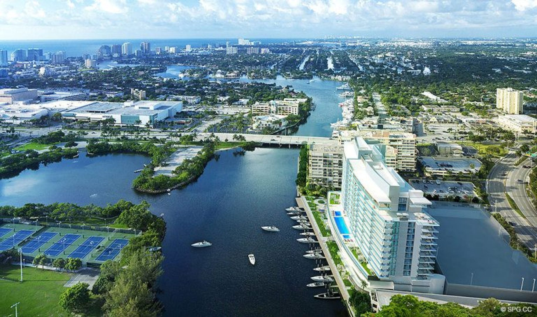 Aerial Intracoastal View of Riva, Luxury Waterfront Condos in Fort Lauderdale, Florida 33304.