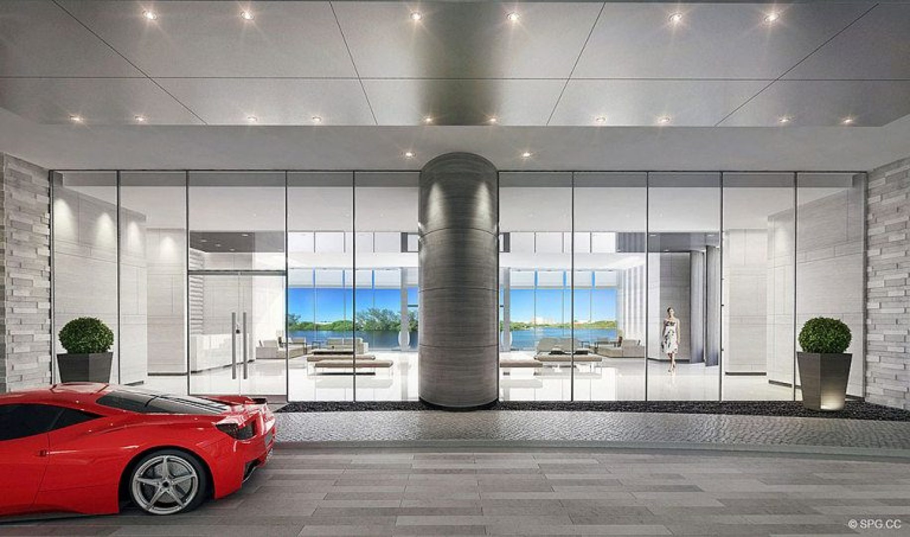 Vehicle Drop-off to Lobby at Riva, Luxury Waterfront Condos in Fort Lauderdale, Florida 33304.