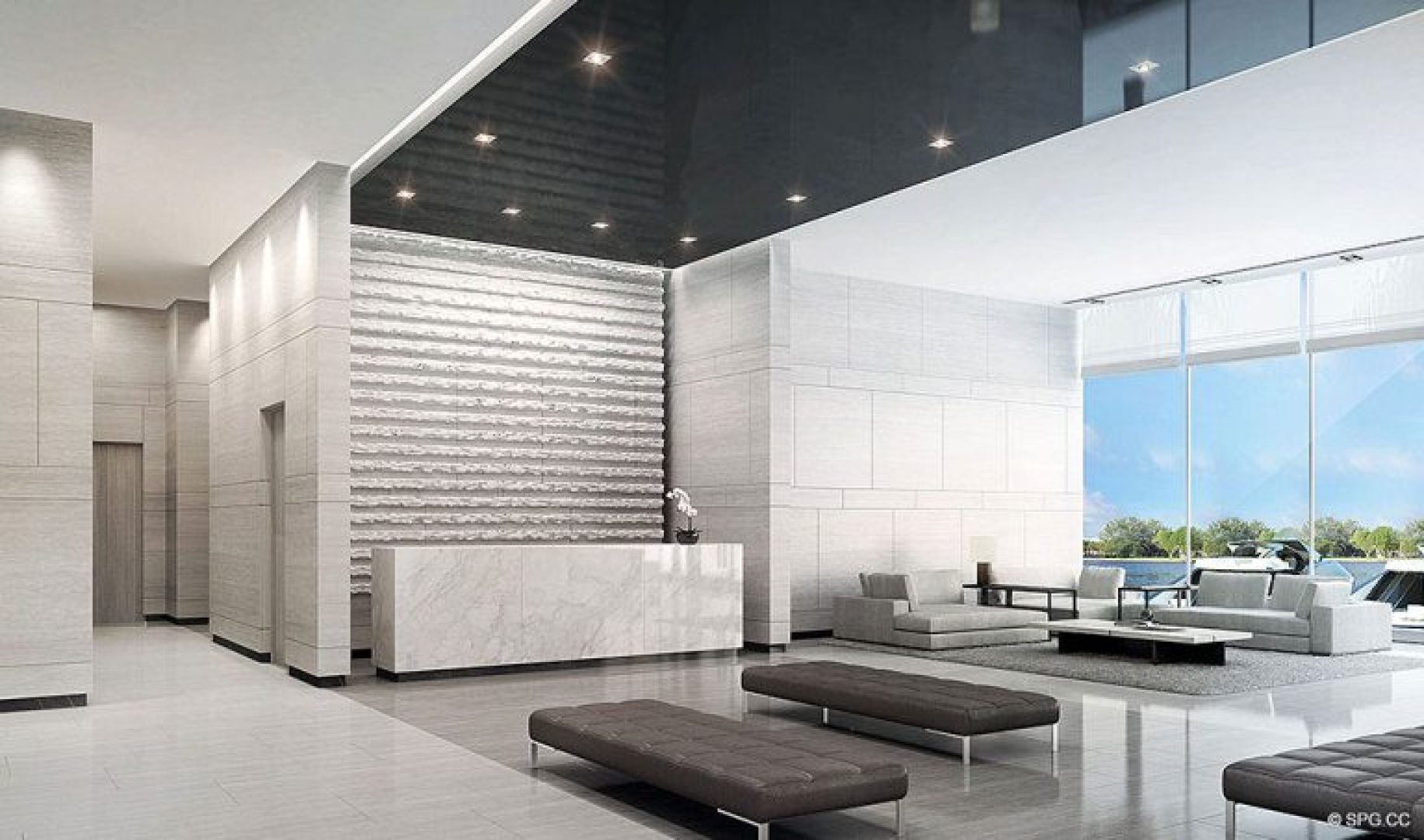 Lobby Reception Design for Riva, Luxury Waterfront Condos in Fort Lauderdale, Florida 33304.
