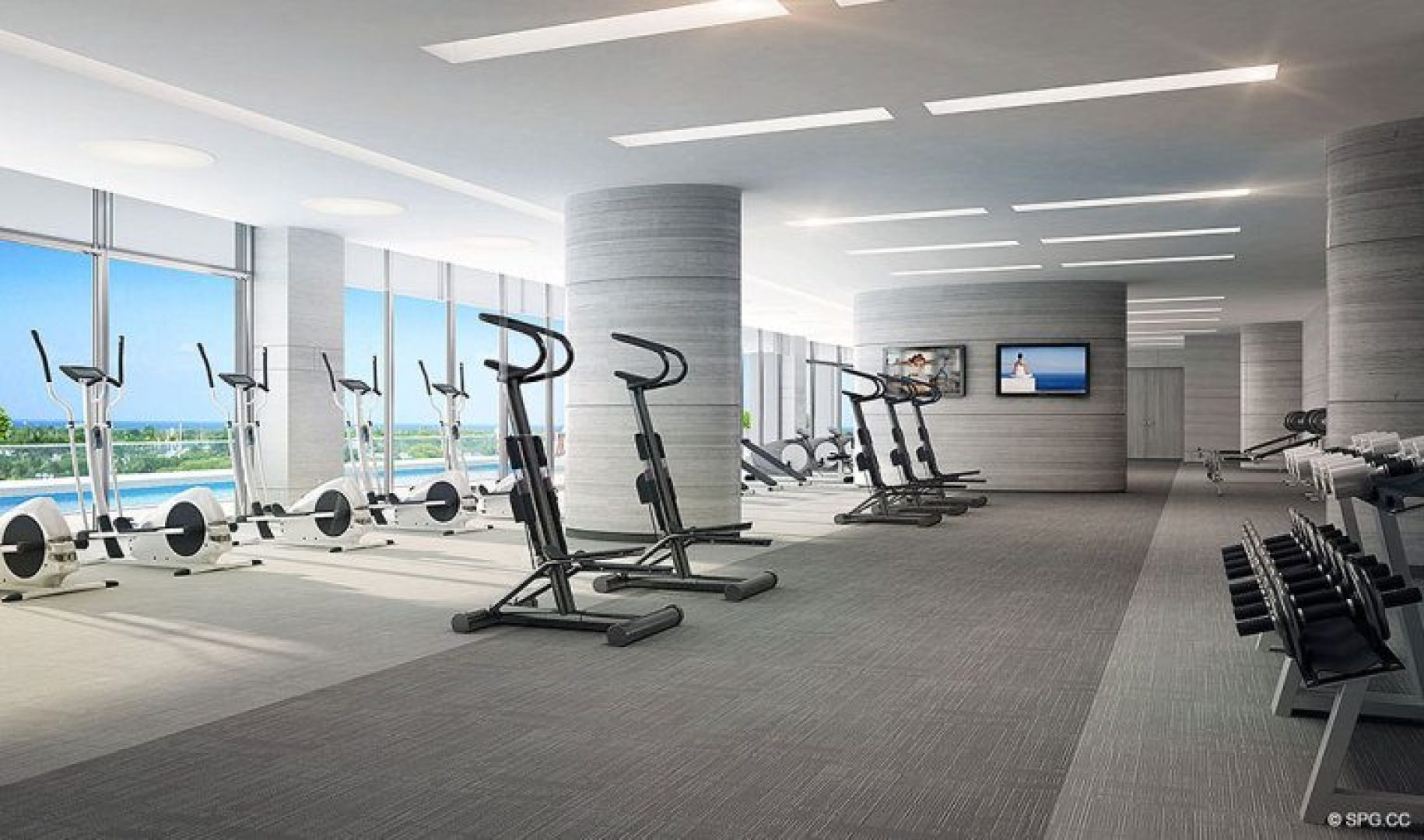 Fitness Center at Riva, Luxury Waterfront Condos in Fort Lauderdale, Florida 33304.