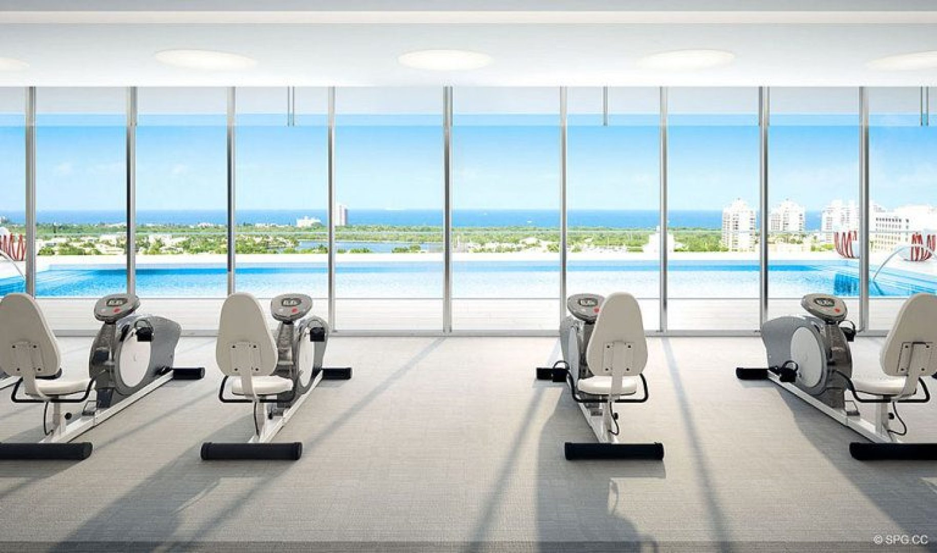 Waterfront Fitness Center Views at Riva, Luxury Waterfront Condos in Fort Lauderdale, Florida 33304.