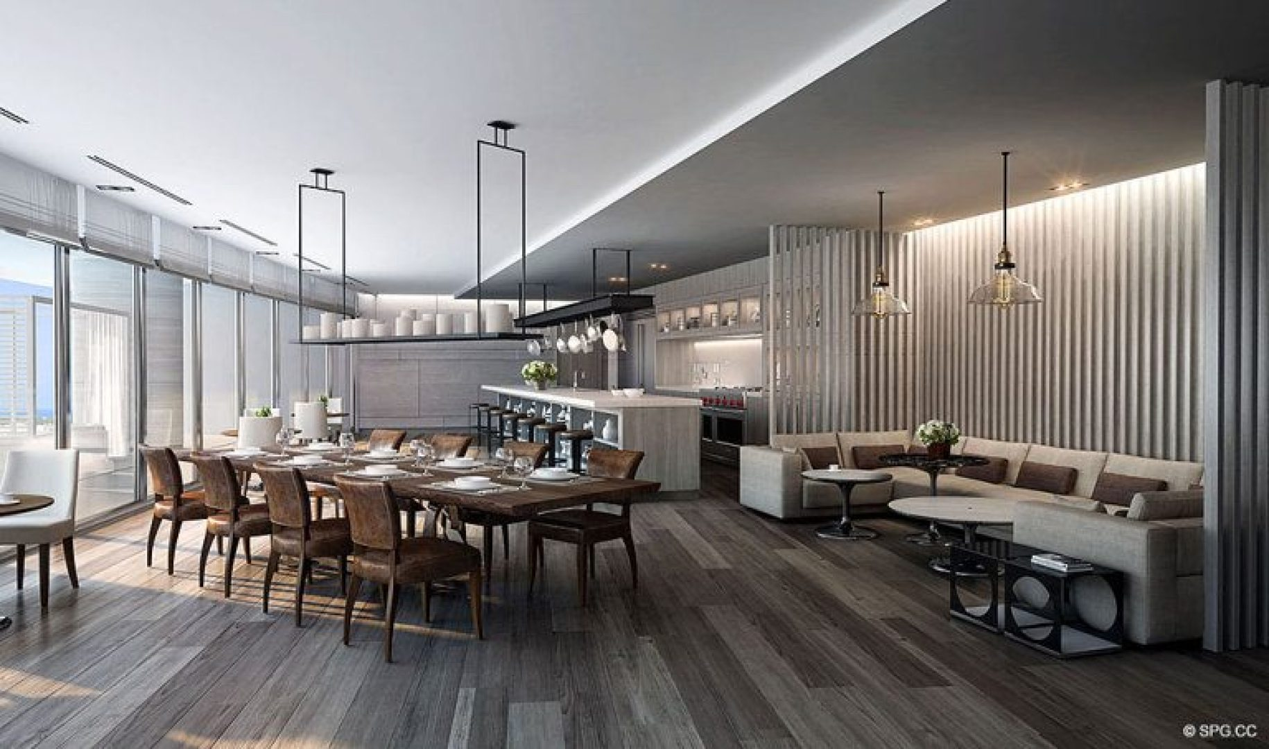 Culinary Club Room Concept for Riva, Luxury Waterfront Condos in Fort Lauderdale, Florida 33304.