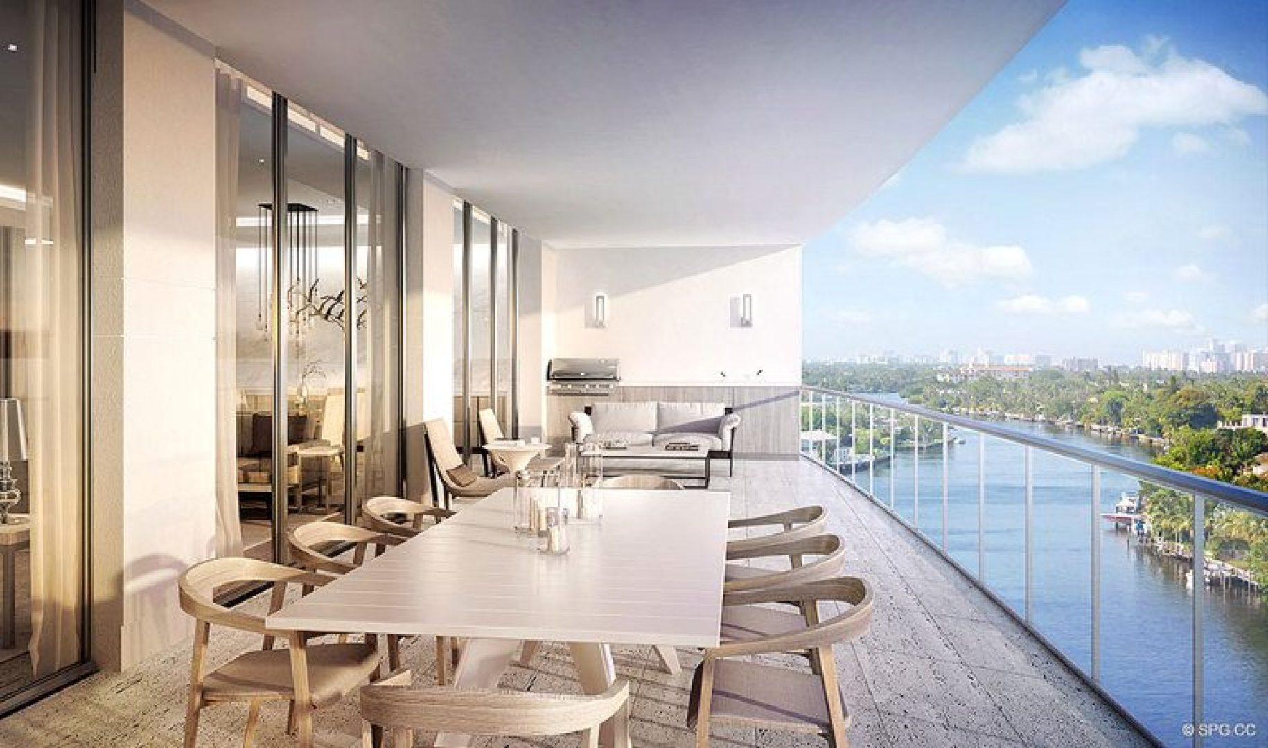 Splendid Intracoastal Terrace Views at Riva, Luxury Waterfront Condos in Fort Lauderdale, Florida 33304.