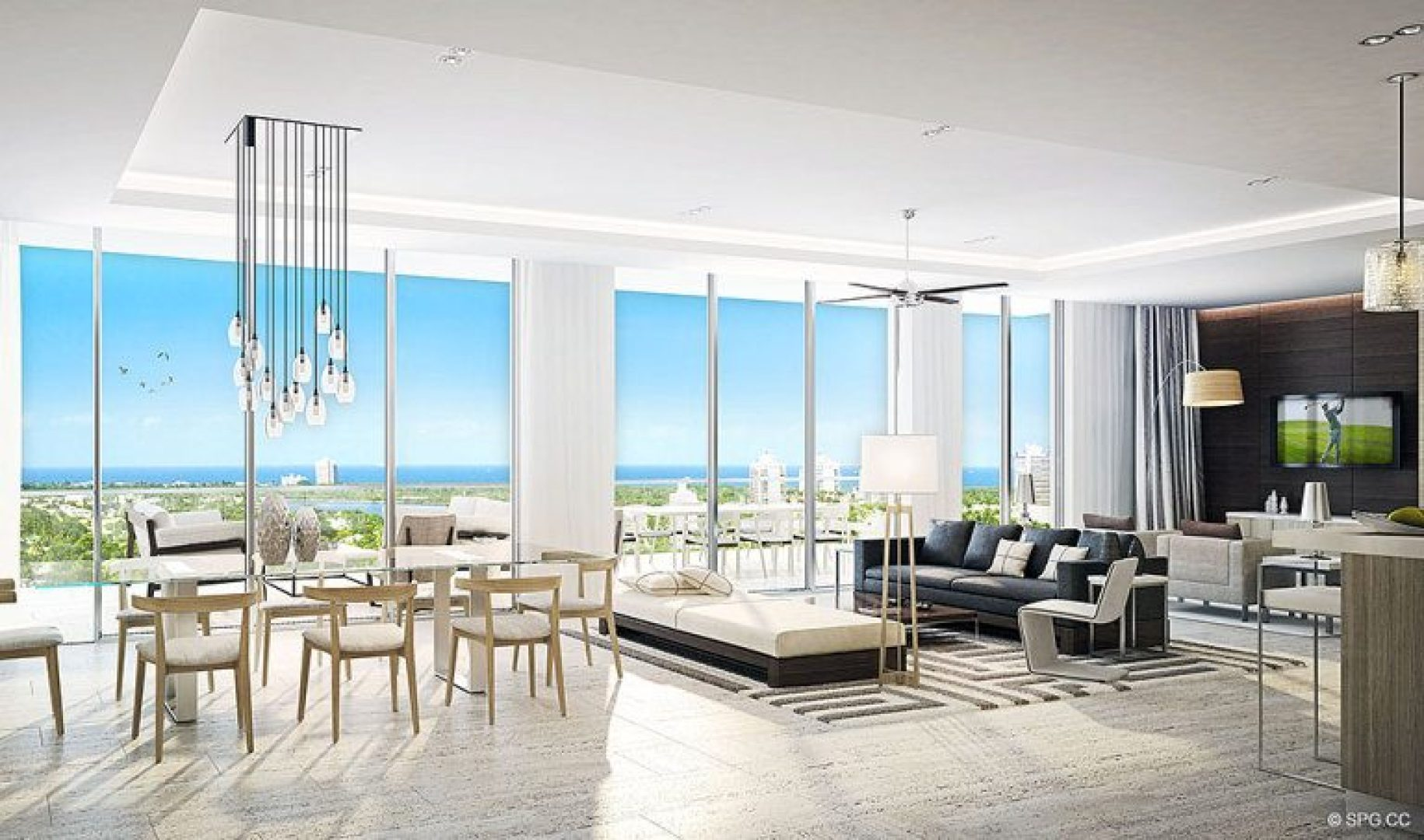 Open Great Room Concept for Riva, Luxury Waterfront Condos in Fort Lauderdale, Florida 33304.