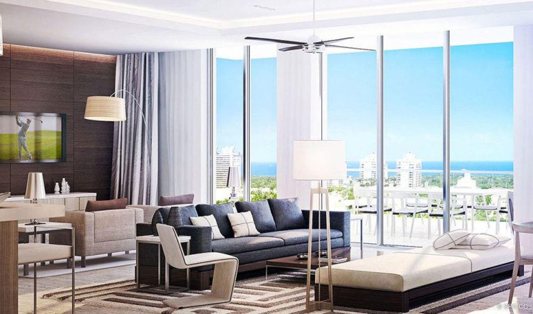 Floor to Ceiling Glass at Riva, Luxury Waterfront Condos in Fort Lauderdale, Florida 33304.