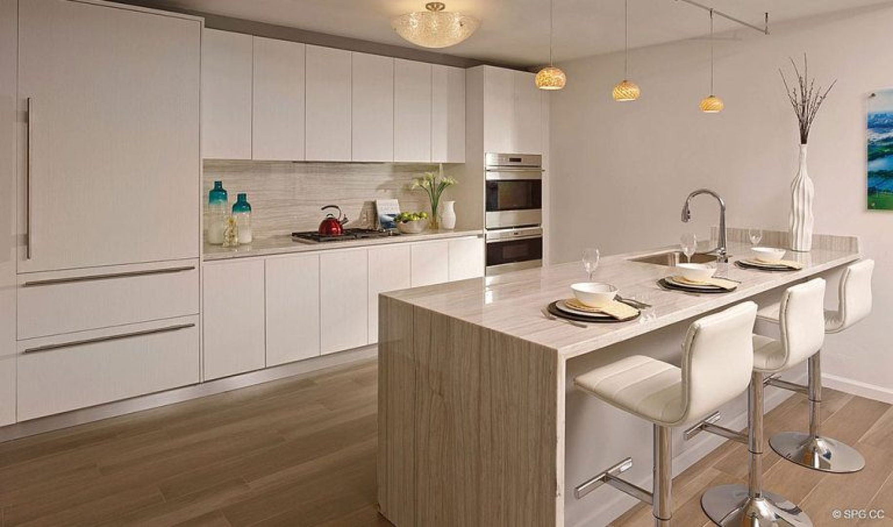 Open Gourmet Kitchen Design inside Riva, Luxury Waterfront Condos in Fort Lauderdale, Florida 33304.