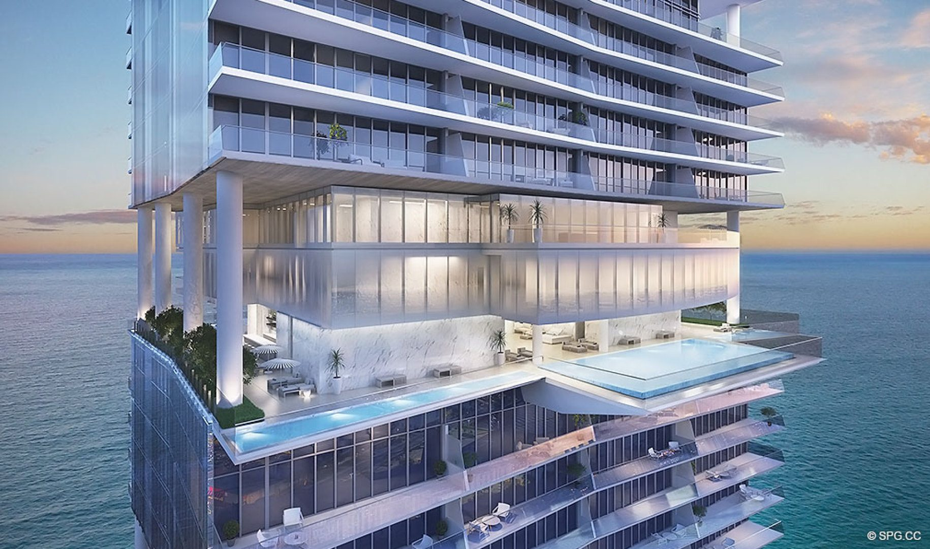 Terrace Pool at Turnberry Ocean Club, Luxury Oceanfront Condos Located at 18501 Collins Avenue, Sunny Isles Beach, Miami 33160