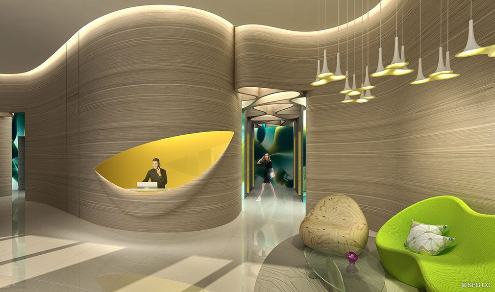 Main Lobby Design for Paraiso Bayviews, Luxury Seaside Condos in Miami, Florida 33137