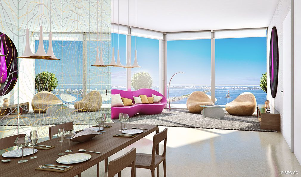 Living Room Design for Paraiso Bayviews, Luxury Seaside Condos in Miami, Florida 33137