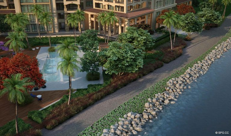 Perfectly manicured Grounds at Palazzo del Sol, Luxury Waterfront Condominiums Located on Fisher Island, Miami Florida 33109