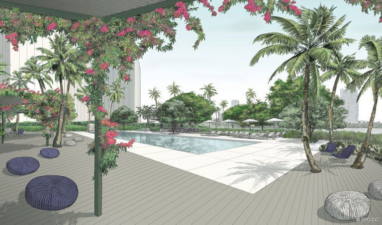 Pool Area Concept Art for Palazzo del Sol, Luxury Waterfront Condominiums Located on Fisher Island, Miami Florida 33109
