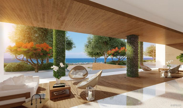 Open Lobby Design for Palazzo del Sol, Luxury Waterfront Condominiums Located on Fisher Island, Miami Florida 33109