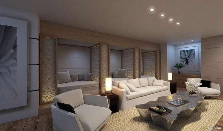 Lobby Rendering for Palazzo del Sol, Luxury Waterfront Condominiums Located on Fisher Island, Miami Florida 33109