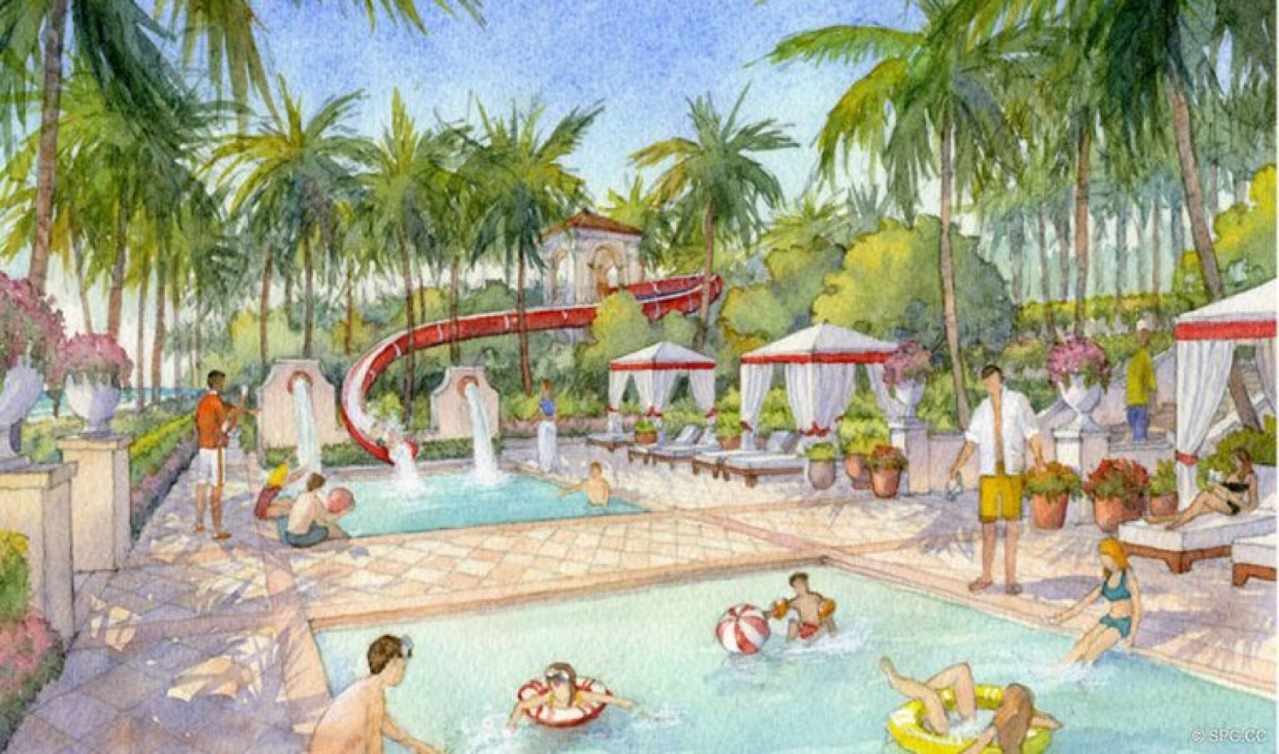 Artist Rendering of Pool Area at Estates at Acqualina, Luxury Oceanfront Condos in Sunny Isles Beach, Florida 33160