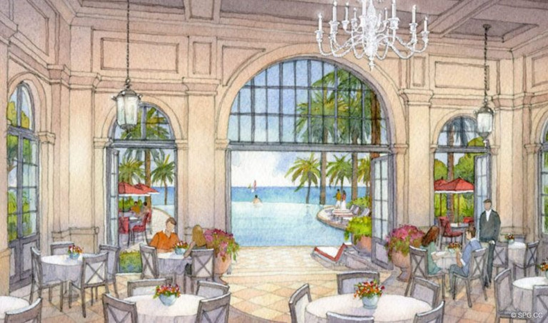 Artist Rendering of the Estates at Acqualina, Luxury Oceanfront Condos in Sunny Isles Beach, Florida 33160