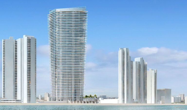 Ocean View of Residences by Armani Casa, Luxury Oceanfront Condos in Sunny Isles Beach, Florida 33160