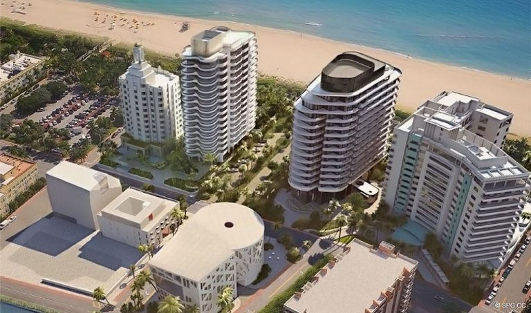 Render of the Faena District and Faena Versailles Contemporary, Luxury Oceanfront Condos in Miami Beach, Florida 33140
