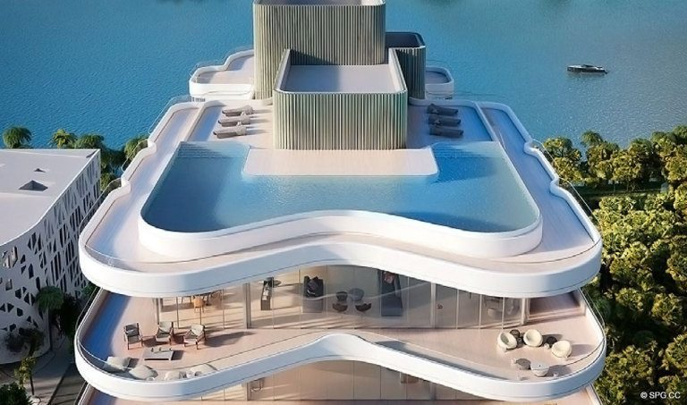 Rooftop Pool at Faena Versailles Contemporary, Luxury Oceanfront Condos in Miami Beach, Florida 33140