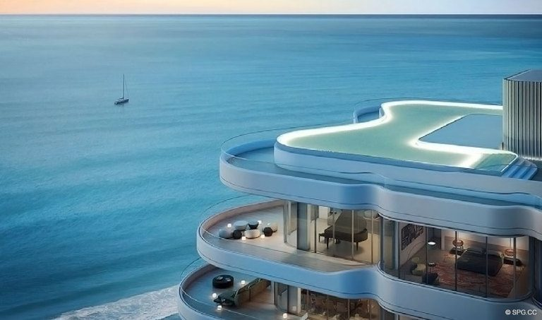 Pool Deck Ocean Views at Faena Versailles Contemporary, Luxury Oceanfront Condos in Miami Beach, Florida 33140