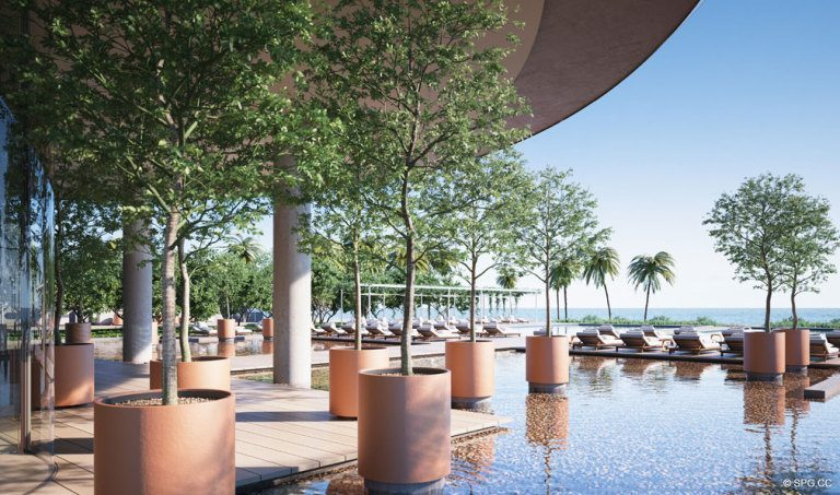 Serene Landscaping at Eighty Seven Park, Luxury Oceanfront Condos in Miami Beach, Florida 33154