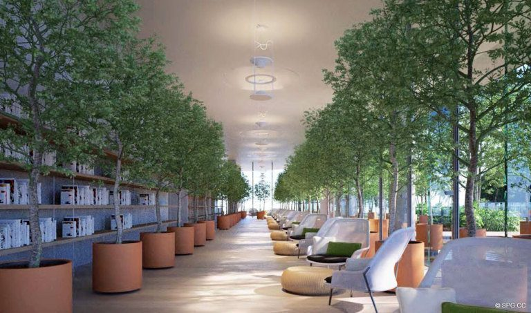 Lush Social Spaces at Eighty Seven Park, Luxury Oceanfront Condos in Miami Beach, Florida 33154