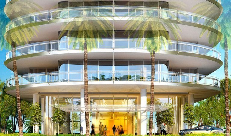Entrance into Eighty Seven Park, Luxury Oceanfront Condos in Miami Beach, Florida 33154