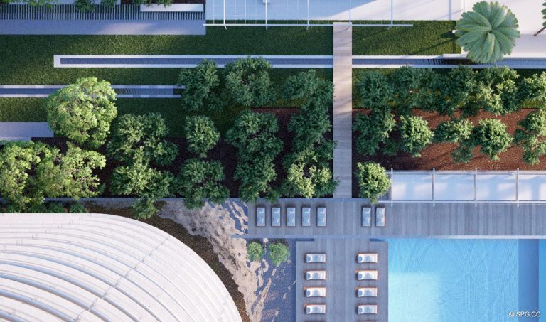 Overhead Grounds View at Eighty Seven Park, Luxury Oceanfront Condos in Miami Beach, Florida 33154