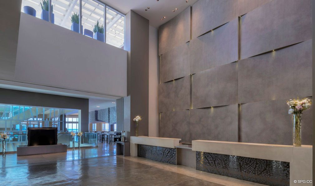 Main Lobby inside The W Fort Lauderdale, Luxury Oceanfront Condos in Fort Lauderdale, 33304