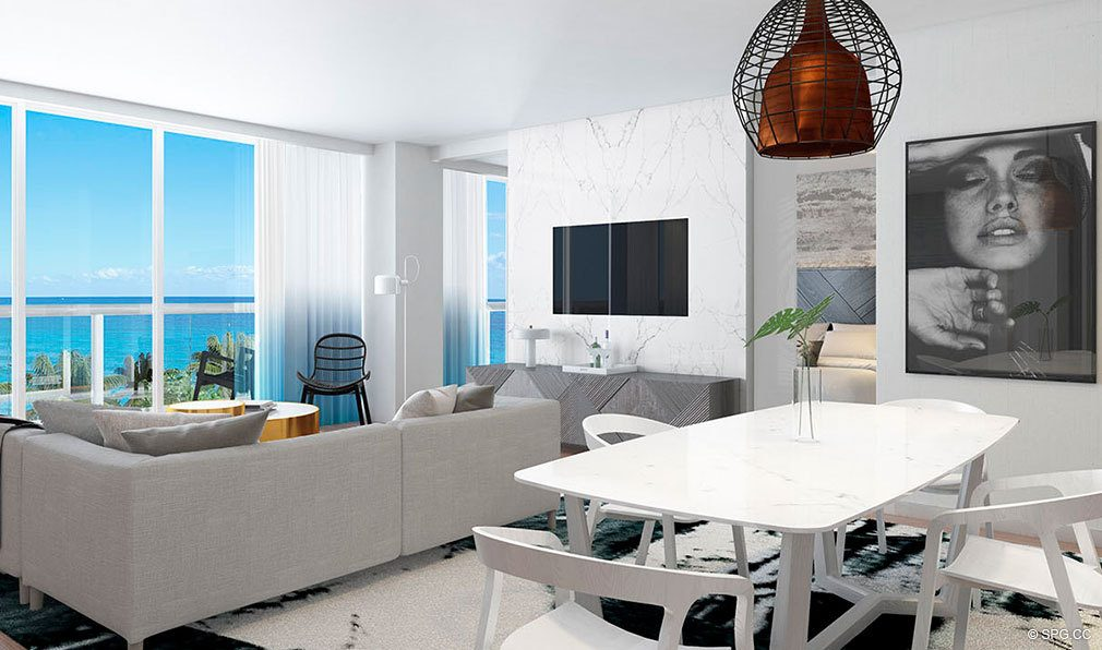 Living Room inside The W Fort Lauderdale, Luxury Oceanfront Condos in Fort Lauderdale, 33304